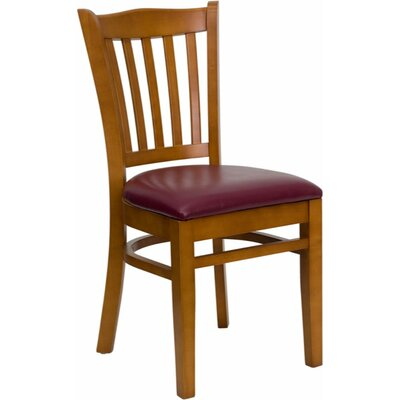 Duprey Solid Woood Side Chair Finish: Natural, Upholstery: Burgundy