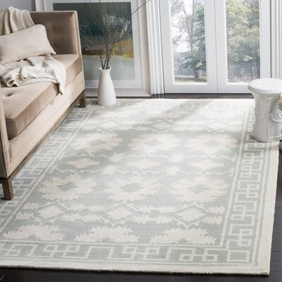 Amundson Hand-Tufted Gray/Ivory Area Rug Rug Size: Rectangle 6 x 9