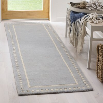 Amundson Hand-Tufted Light Blue/Ivory Area Rug Rug Size: Runner 23 x 7