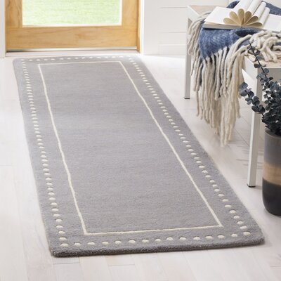 Amundson Hand-Tufted Silver/Ivory Area Rug Rug Size: Runner 23 x 7