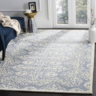 Amundson Hand-Tufted Blue/Ivory Area Rug Rug Size: Rectangle 6 x 9