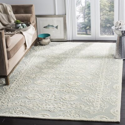 Amundson Hand-Tufted Gray/Ivory Area Rug Rug Size: Rectangle 6' x 9'