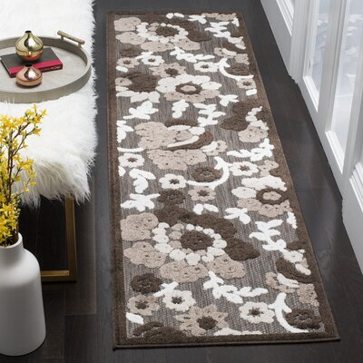 Bryan Light Brown/Brown Indoor/Outdoor Area Rug Rug Size: Runner 23 x 8