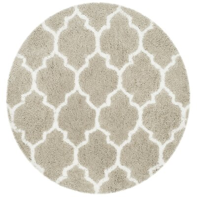 Parnassus Hand-Tufted Silver/Ivory Area Rug Rug Size: Round 5 x 5