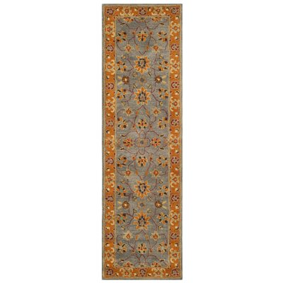 Cranmore Hand-Tufted Gray/Orange Area Rug Rug Size: Runner 23 x 8