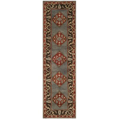 Cranmore Hand-Tufted Gray/Red Area Rug Rug Size: Runner 23 x 8