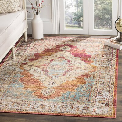 Michiana Orange/Light Blue Area Rug Rug Size: 67 x 92