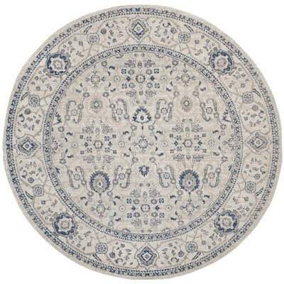 Nielsen Light Grey/Ivory Area Rug Rug Size: Round 67 x 67
