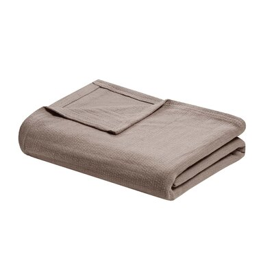 Featherston Fresh Spun Basketweave 100% Cotton Blanket Size: King, Color: Taupe