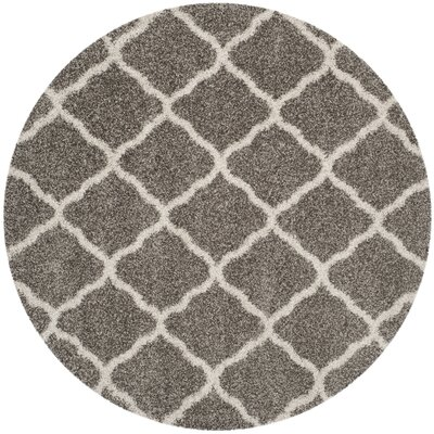 Buford Gray/Ivory Area Rug Rug Size: Round 7
