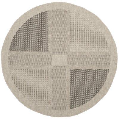 Halvorsen Sand/Black Outdoor Rug Rug Size: Round 67