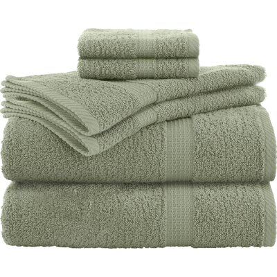 Liam 6 Piece Towel Set Color: Basil