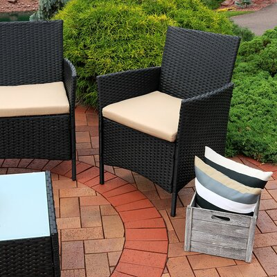 Straitson Wicker 4 Piece Rattan Seating Group with Cushions