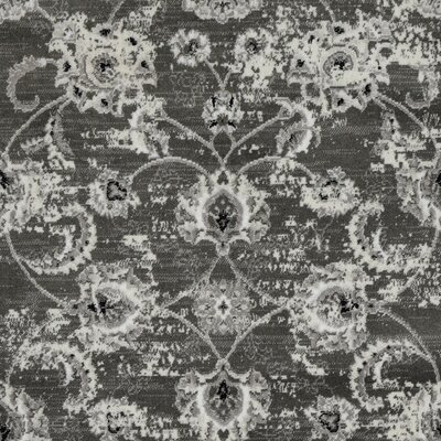 Lamberth Distressed Floral Rectangle Gray Area Rug Rug Size: 5 3 x 7
