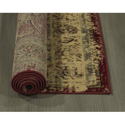 Lamberth Distressed Medallion Red/Yellow Area Rug Rug Size: 5 3 x 7