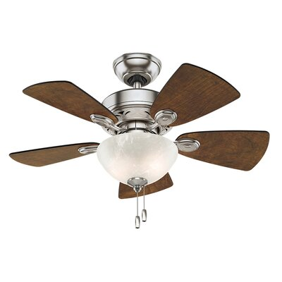 34 Watson 5-Blade Ceiling Fan Finish: Brushed Nickle with Dark Walnut/Cherry Blades