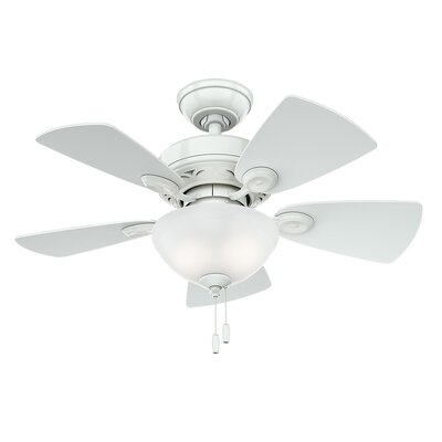 34 Watson 5-Blade Ceiling Fan Finish: Snow White with White/Bleached Oak Blades