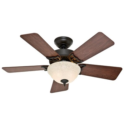 42 The Kensington� 5-Blade Ceiling Fan Finish: Bronze with Dark Cherry/Medium Oak Blades