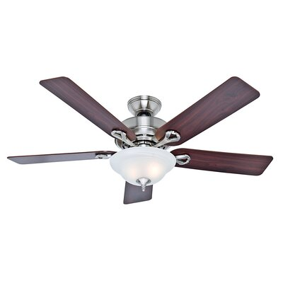 52 The Kensington� 5-Blade Ceiling Fan Finish: Brushed Nickel with Cherry/Maple Blades