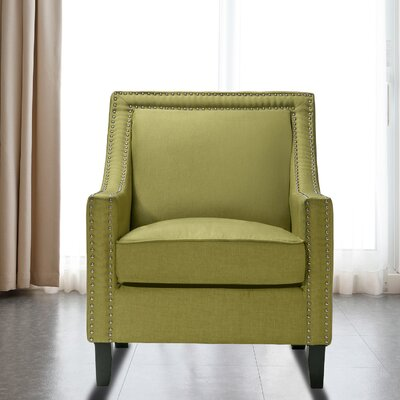 Trefethen Wood Accent Arm Chair Upholstery: Green