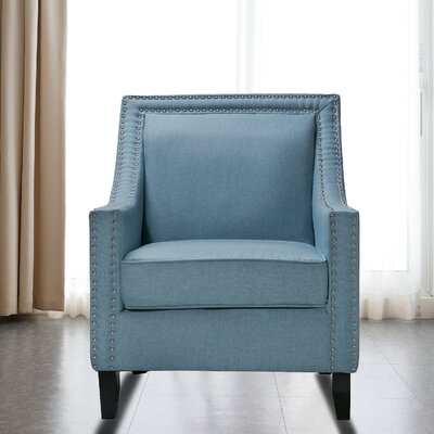 Trefethen Wood Accent Arm Chair Upholstery: Blue