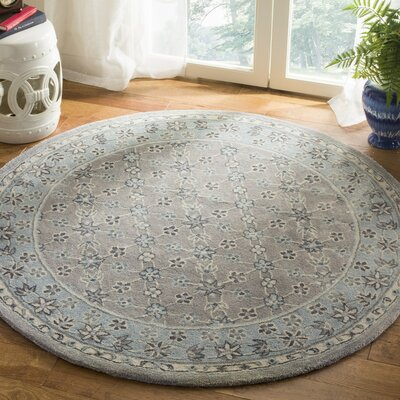 Blassingame Hand-Tufted Gray Area Rug Rug Size: Round 5