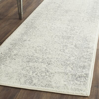 Reynolds Ivory/Silver Area Rug Rug Size: Runner 26 x 8