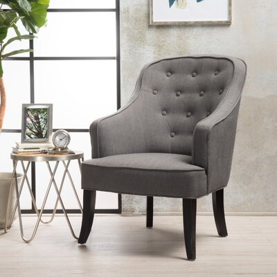 Lizton Barrel Chair Upholstery: Dark Gray/Espresso