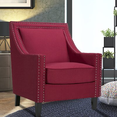 Trefethen Wood Accent Arm Chair Upholstery: Red