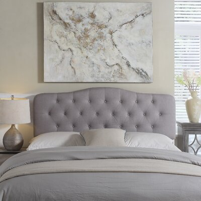 Charlottesville Upholstered Panel Headboard Color: Grey, Size: Queen