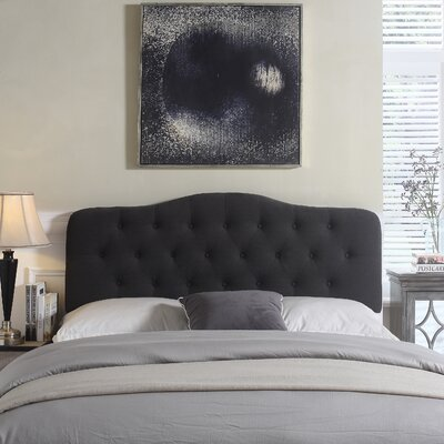 Charlottesville Upholstered Panel Headboard Color: Charcoal, Size: Queen