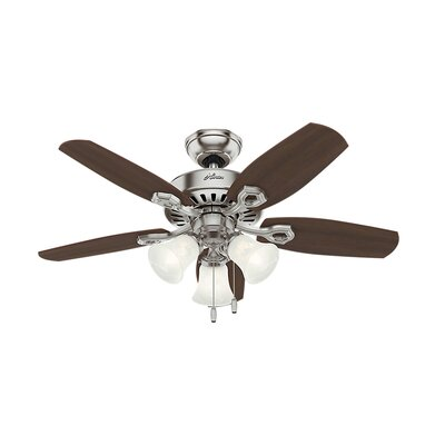 42 Builder 5-Blade Ceiling Fan Finish: Brushed Nickel with Brazilian Cherry/Harvest Mahog