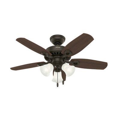 42 Builder 5-Blade Ceiling Fan Finish: Bronze with Harvest Mahogany/Brazilian Cherry Blad