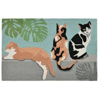 Allgood Hand-Tufted Blue Indoor/Outdoor Area Rug Rug Size: 18 x 26