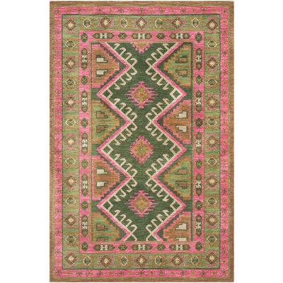 Robbins Bright Pink/Olive Area Rug Rug Size: Rectangle 76 x 96