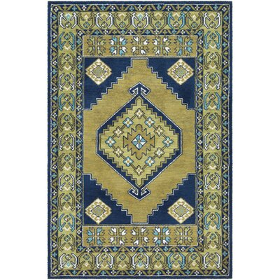 Robbins Lime/Navy Area Rug Rug Size: Rectangle 5' x 7'6