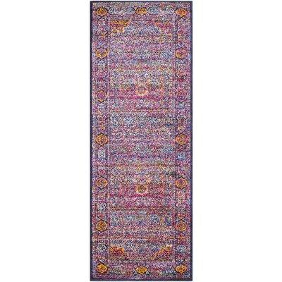 Walferdange Floral Bright Pink/Violet Area Rug Rug Size: Runner 27 x 73