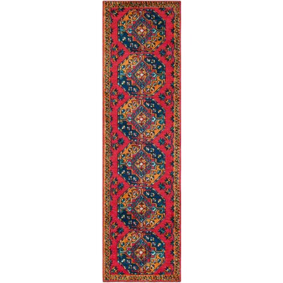 Robbins Bright Red/Navy Area Rug Rug Size: 2 x 3