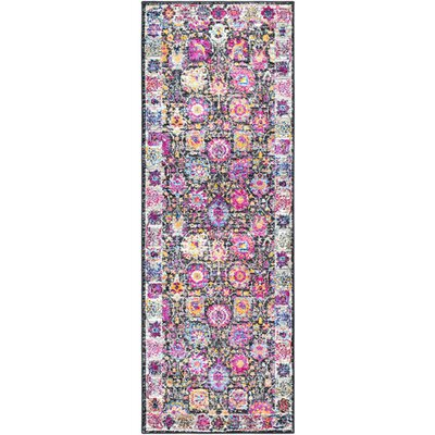 Walferdange Floral Bright Pink/Blue Area Rug Rug Size: Runner 27 x 73