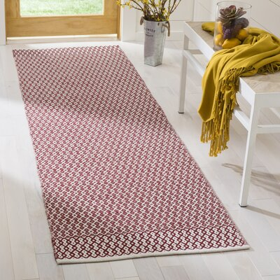 Parthena Hand-Woven Red Area Rug Rug Size: Runner 23 x 8