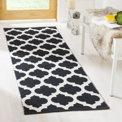 Willow Hand-Woven Black/Ivory Area Rug Rug Size: Runner 23 x 7