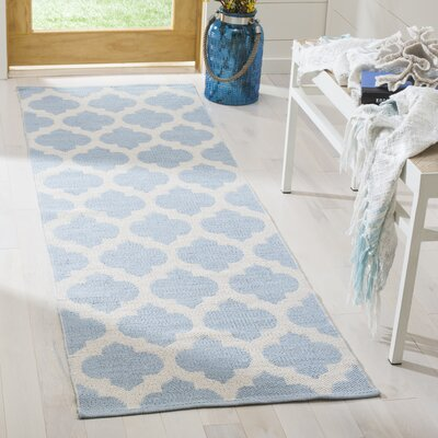 Willow Hand-Woven Light Blue/Ivory Area Rug Rug Size: Runner 23 x 7