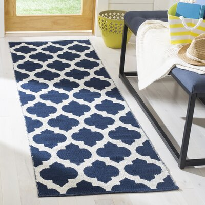 Willow Hand-Woven Navy/Ivory Area Rug Rug Size: Runner 23 x 7