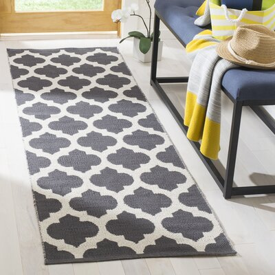 Willow Hand-Woven Dark Gray/Ivory Area Rug Rug Size: Runner 23 x 7