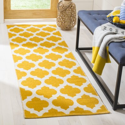 Willow Hand-Woven Yellow/Ivory Area Rug Rug Size: Runner 23 x 7