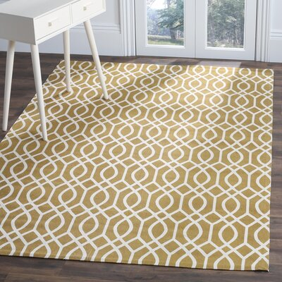 Warner Robins Hand Woven Citron/Ivory Area Rug Rug Size: Rectangle 73 x 93