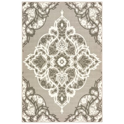 Sattler Gray/White Indoor/Outdoor Area Rug Rug Size: 67 x 96