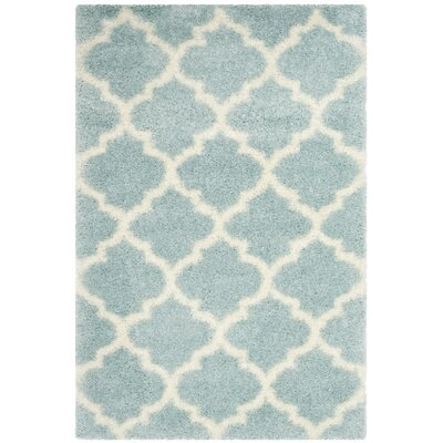 Bingham LightBlue/Ivory Area Rug Rug Size: Rectangle 4 x 6