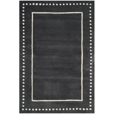 Amundson Hand-Tufted Dark Grey/Ivory Indoor Area Rug Rug Size: Rectangle 8 x 10