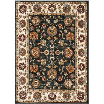 Lowe Dark Grey/Ivory  Area Rug Rug Size: Rectangle 51 x 76